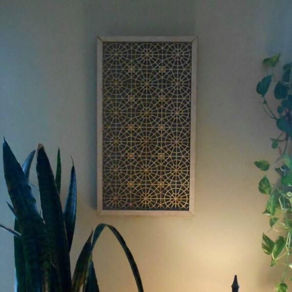 Arabic Geometry Inspired Laser Cut Screen:  Natural Birch 12.5X24
