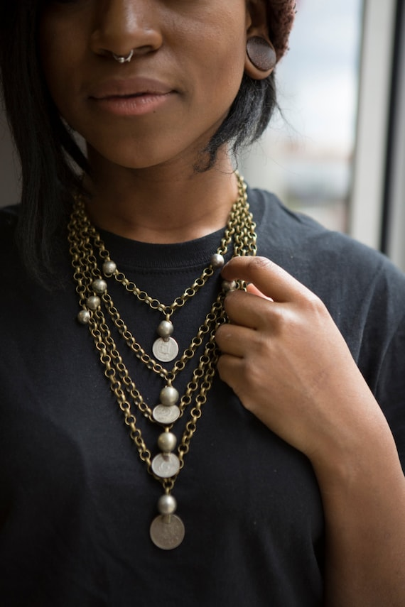 Art Deco Tribal Coin Necklace