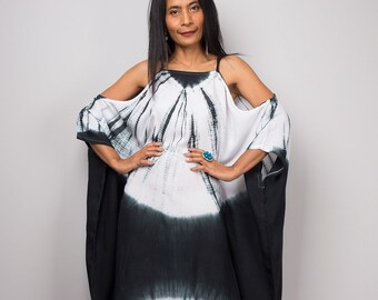 Tie Dye Dress, Kaftan dress, Summer Dress, Black and White Dress, Ombre dress, Halter dress, Cotton dress : Shibori Handmade Dress