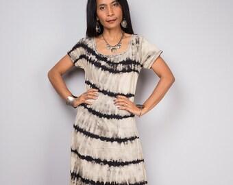 Cap sleeve Dress, Tie dye dress, Bleached Dress, T- shirt dress, Striped maxi Dress  - Bleached collection BLCA001