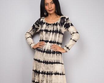 Tie Dye Dress, Festival dress, Bleached dress, Summer dress, Striped dress : Bleached Collection BLLS005