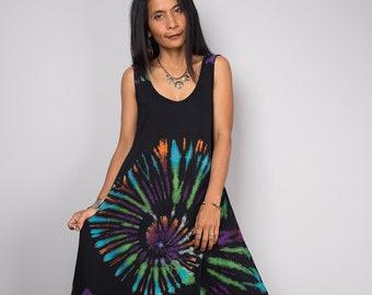 Summer dress, Tank top dress, Rainbow dress, Maxi Dress, Tie Dye Maxi dress, Festival dress  - Funky Tiedye Collection  RATA005