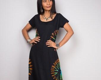 Cap sleeve Dress, Tie dye dress, Rainbow Dress, T- shirt dress, Black maxi Dress  - Tie Dye collection RACA001