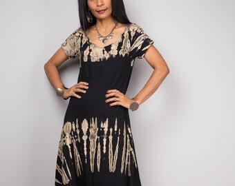 Tie dye dress, Cap sleeve Dress, Bleached Dress, Black T- shirt dress, Striped maxi Dress  - Bleached collection BLCA003