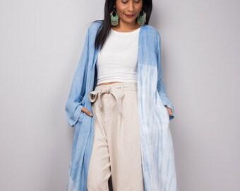 Light Blue Cardigan, Duster vest, Summer Vest, Blue and white duster, Wrap Cape, Tie Dye Long Sleeved Cardigan, Beach cover, Shibori