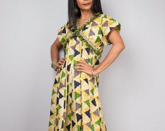 Yellow dress, Summer dress, Cap Sleeve Dress, Boho Dress, Loose fit dress