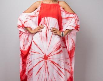 Red kaftan, Shibori Tie Dye Halter Dress, Summer Dress, Red and White Dress : Shibori Collection