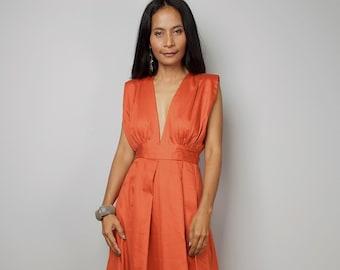 3441855d6cef Sleeveless Orange Maxi Dress