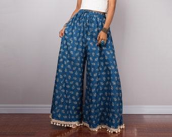 Palazzo pants, Wide Leg Pants, Hand block printed pants, Boho cotton pants,  maxi pants, women pants, summer pants, blue pants