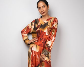 8837bbc807ff Boho Floral Maxi Dress with long sleeves | Loose fit abaya dress