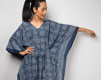 d6abda4af0 Cotton Kaftan Indigo Maxi Dress