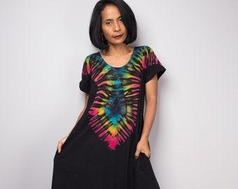 ea3bd35c5c11 Tie dye Festival Maxi dress, Rainbow T- shirt dress, Hand dyed hippie dress  RACA012