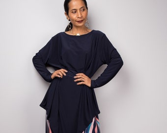 97e061401b3e Dark blue modest Maxi Dress with long sleeves | Loose fit abaya dress |  Tube Dress
