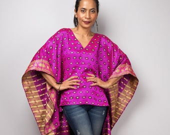 Red Pink Embroidered Caftan Top Vintage Pullover Poncho Blouse Dark Pink with Floral Embroidery Batwing Shirt Caftan Dashiki  Plattermatter