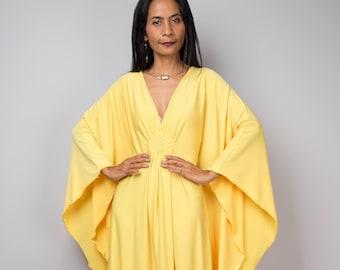 Yellow Kaftan Dress, Bright Yellow Large Loose fitting Maxi Dress, Yellow frock, Handmade evening dress, Kimono Butterfly Dress FU1S