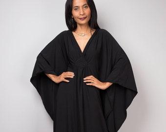 Black Kaftan Dress, Caftan Maxi Dress, Loose fitting women's dress,  Large Black grecian evening dress (FU1S)