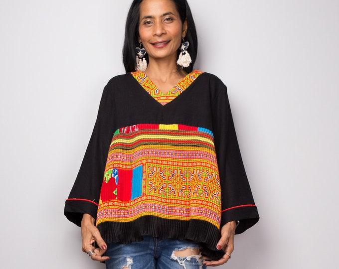 Hill tribe tunic   Bohemian Chic tunic   Vintage Hmong fabric design