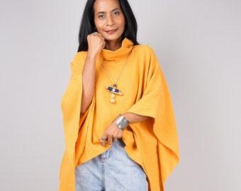 Orange Kaftan top, Cotton gauze tunic top,  beachwear tunic, Short front dress, Double cotton cover up, gauze dress, loungewear