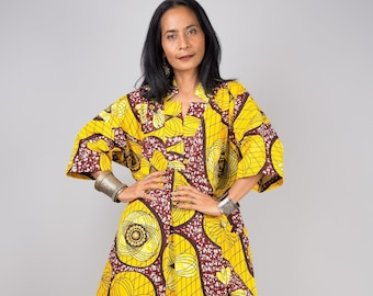 Yellow cotton dress, Ankara dress,  African print dress, Midi dress, Casual dress, Loose fit kaftan dress