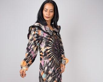 Tie dye dress, Hippie Festival Maxi dress, Gypsy dress, Reverse tie dye dress, Long sleeve dress with Ruffle, tie dye sailor dress