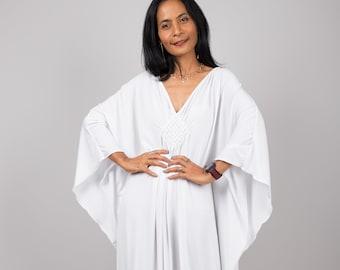 White Dress, Kaftan, Long white Dress, Loose fitting Dress , White maxi dress, Resort dress, frock dress, Plus size caftan dress FU1S