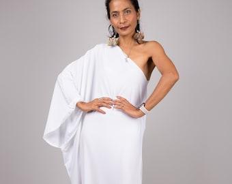 White one shoulder dress,  Long white dress, Off shoulder evening dress, white kaftan dress, white party dress, cocktail dress