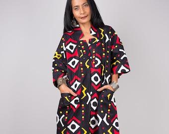 Black cotton dress, Ankara dress,  African print dress, Midi dress, Casual dress, Loose fit kaftan dress