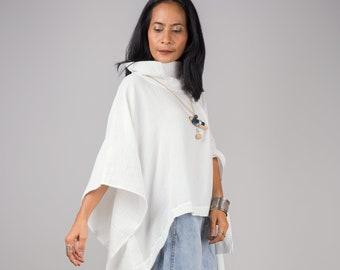 White Kaftan top, Cotton gauze tunic top,  beachwear tunic, Short front poncho dress, Double cotton cover up, turtle neck dress, loungewear