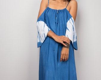 Shibori Tie Dye Halter Dress, Summer Dress, Blue and White Dress , Indigo dress: Shibori Collection