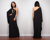 Black one shoulder dress, Long black kaftan dress, Off shoulder evening dress, cocktail dress, black party dress, reversible dress, OSD