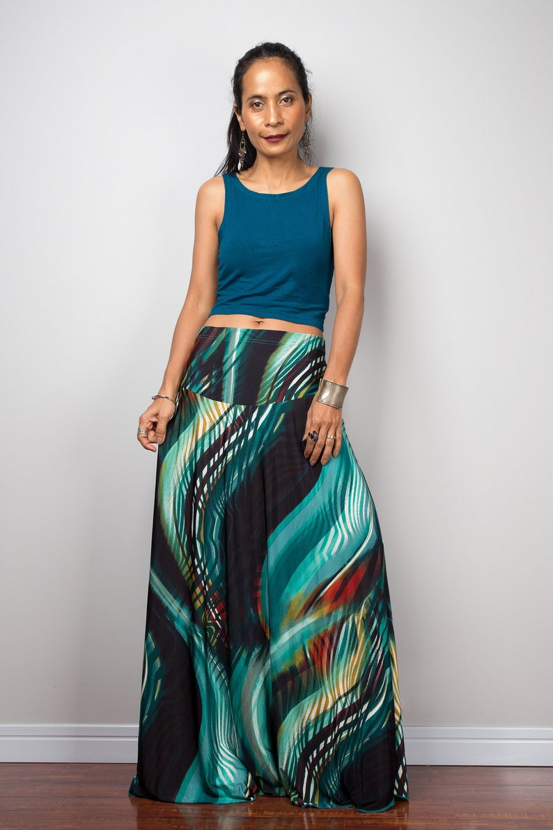 7e0f57987fae76 High waist boho skirt Print maxi skirt Floor length | Etsy