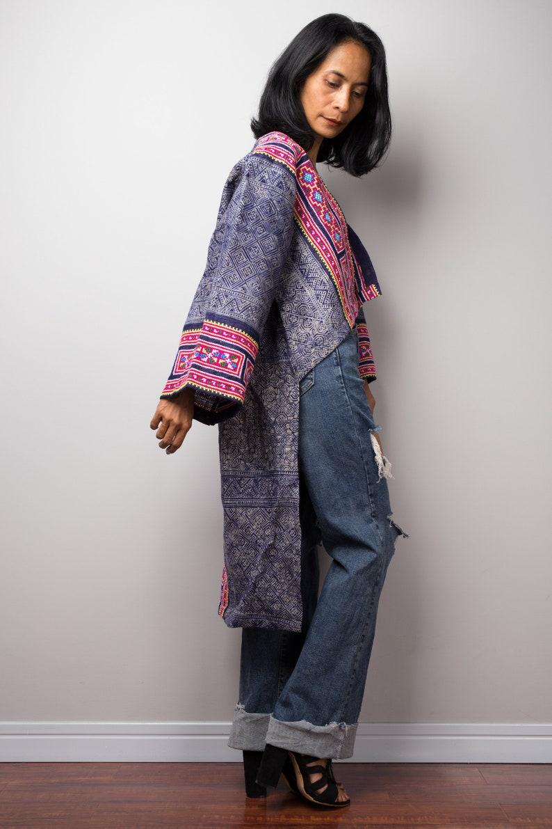 Vintage Hill tribe fabric design Hill tribe tunic Hand batik print on hemp Short Front Bohemian Chic tunic