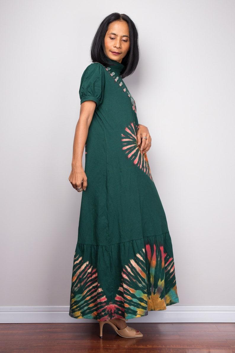 Bohemian dress Hippie Festival midi dress Tie dye dress Lounge dress Short sleeve dress Gypsy dress Summer dress with inseam pockets