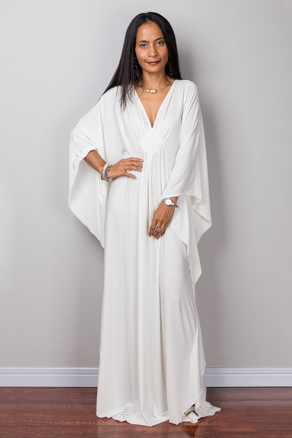 Kaftan Off White Kaftan Maxi Dress Handmade Loose fitting | Etsy