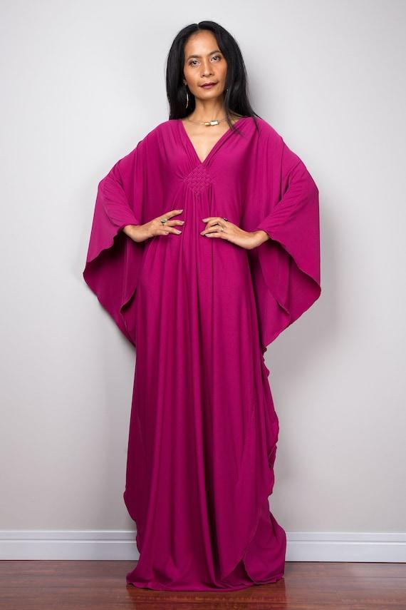 Framboise rose caftan robe Maxi fait à la main lâche raccord   Etsy