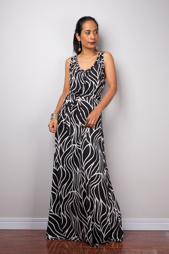 Black And White Sleeveless Tank Top Maxi Dress Loose Fit Etsy