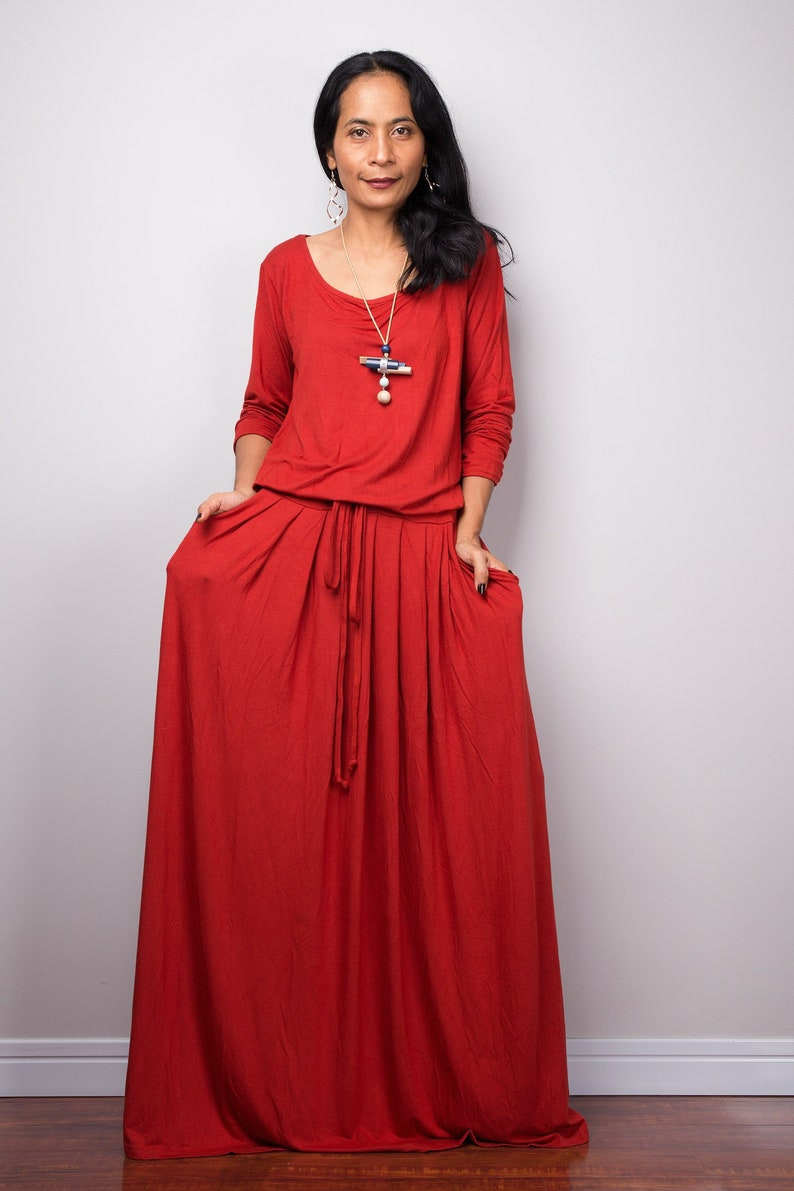 b8ea5a2835245 Long orange dress Burnt Orange Maxi Dress with pockets Long   Etsy