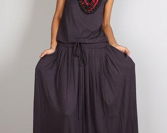 PLUS SIZE Maxi Dress -  Sleeveless Dark Grey dress : Autumn Thrills Collection No.9