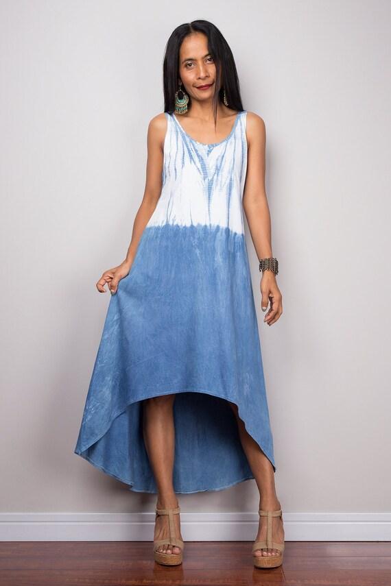Ombre dress Halter Dress White and Blue Summer Dress Hand | Etsy