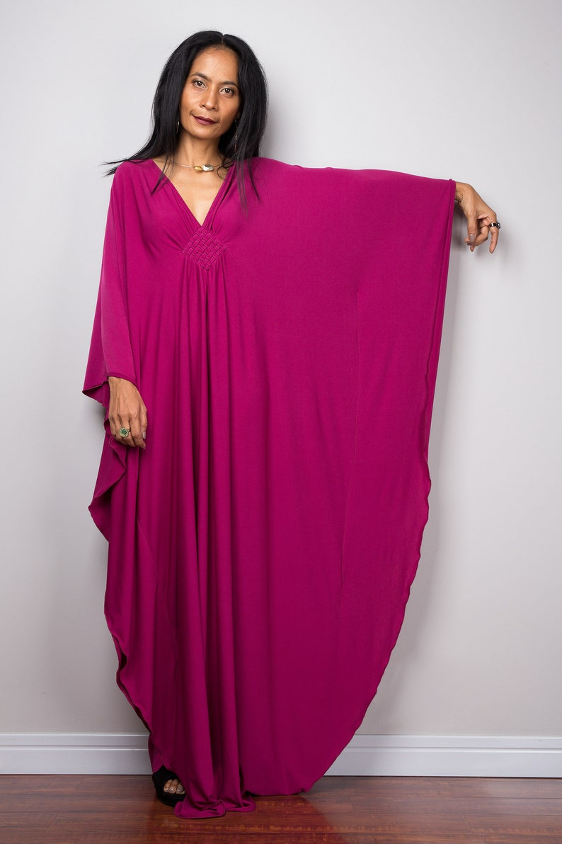 d3cce452c79e8 Raspberry Pink Kaftan Maxi Dress Handmade Loose fitting