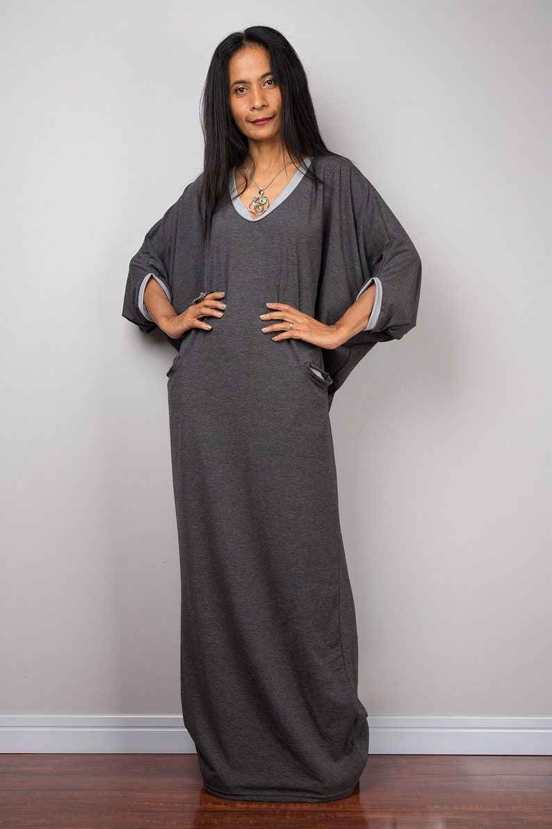 2321b97542 Handmade loose fit gray party maxi dress with pockets