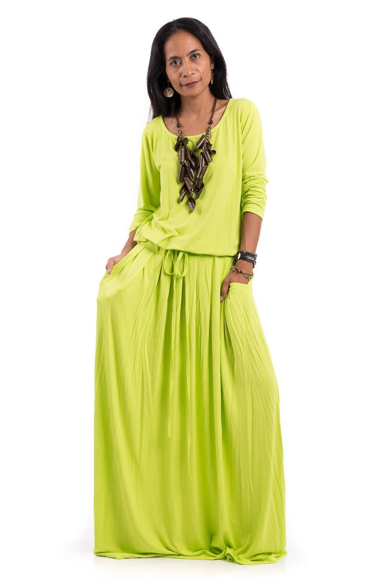 Long sleeve blouson dress, Plus size dress, Green Yellow Maxi Dress with  pockets, Bright Fluo Yellow Green floor length Dress AUT1P