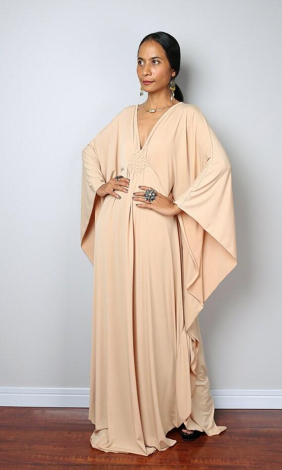Robe beige caftan Beige clair Kimono papillon robe FU1S