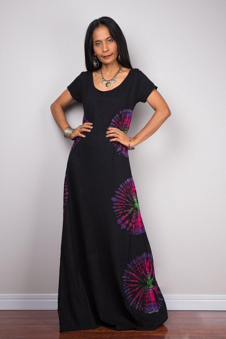 ab6fc47d25a04d Tie dye dress Rainbow Dress T shirt dress Black maxi Dress