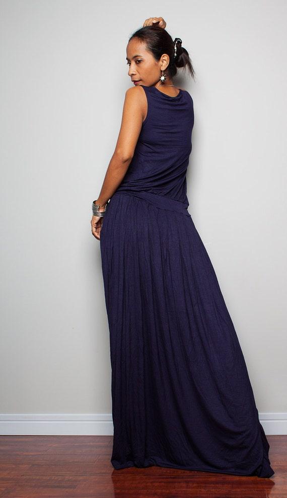 Blue plus size dress, Sleeveless dark navy blue maxi dress, Oversized loose  fit dress, Dress with pockets, Summer Holiday resort dress AUT9P