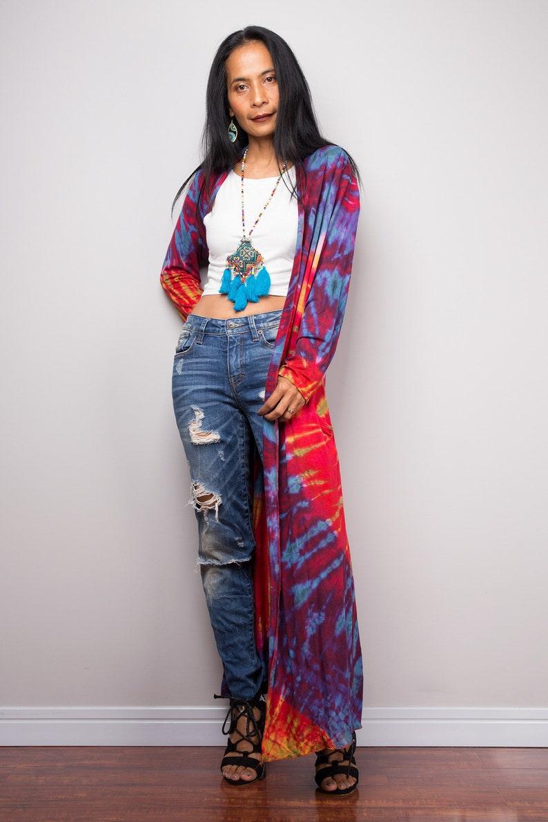 Tie Dye Cardigan Kimono Tie dye robe Hippie Rainbow Duster Vest with pockets Beach cover up Festival wear