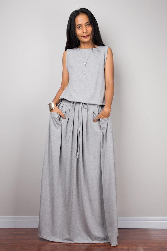 622f8a8353d8 Grey sleeveless Maxi Dress with pockets Handmade long | Etsy