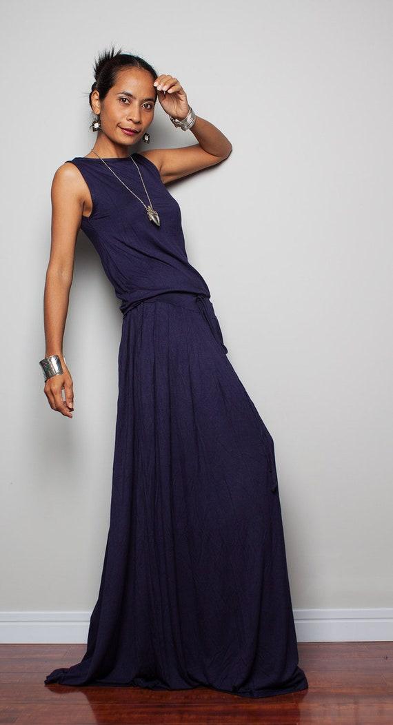 Blue Plus Size Dress Sleeveless Dark Navy Blue Maxi Dress Etsy