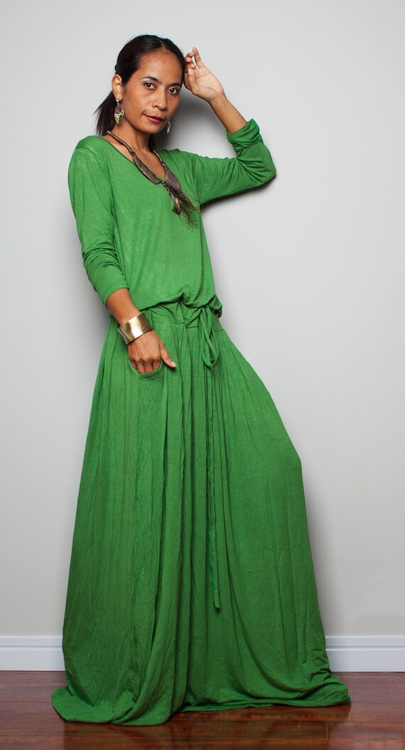 Plus Size Green Maxi Dress Long Sleeve Pleated Dress With Etsy