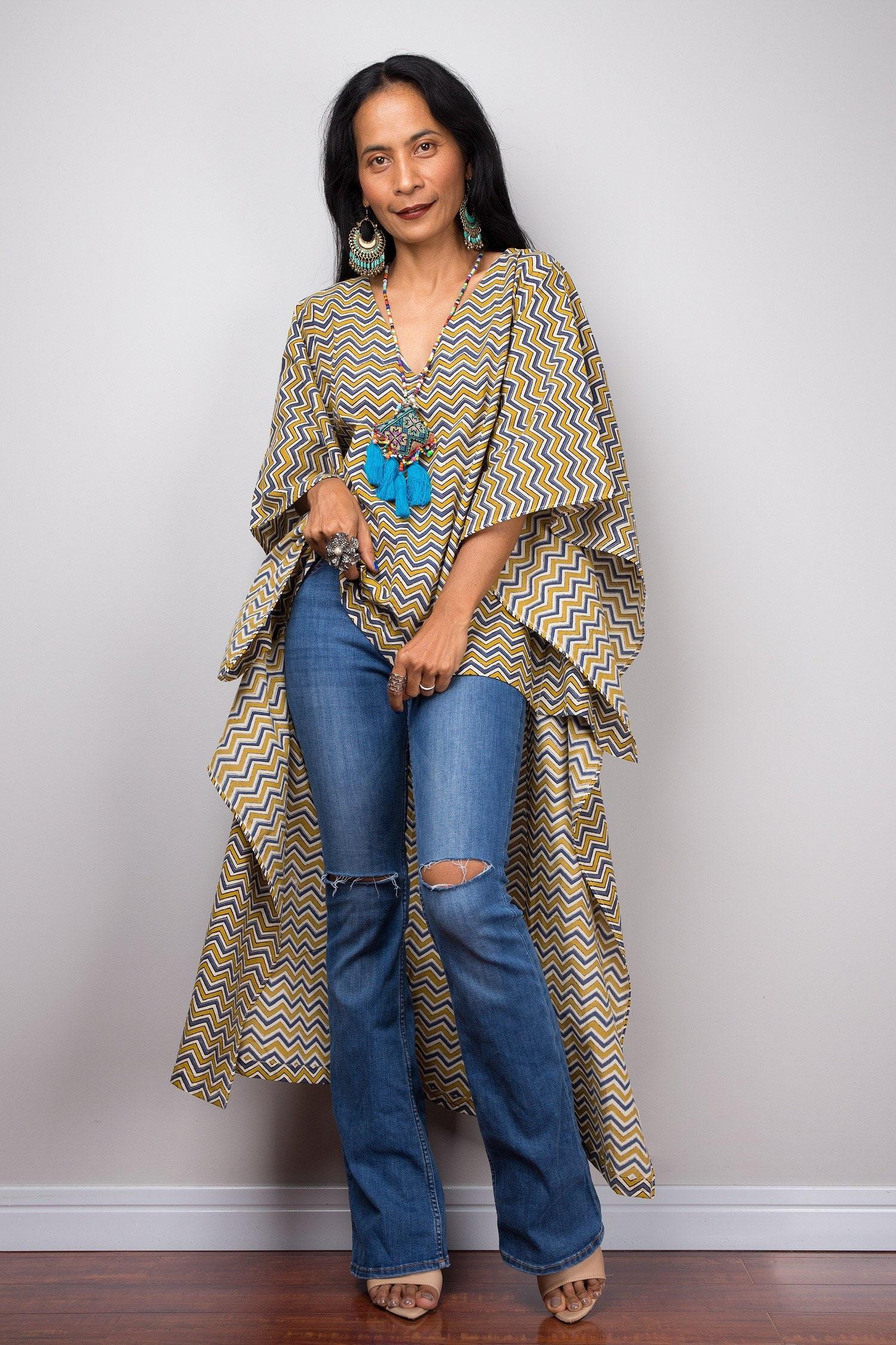 2556bfc830 Boho Chevron Kaftan top Boho short front dress Cotton   Etsy